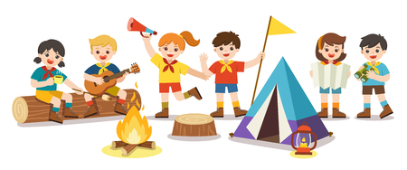 Children camping out on white background. Camping kids concept. Summer camp education advertising. vector illustration.