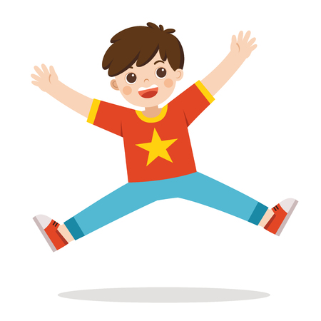 A boy jumping on the background. Vector illustration.