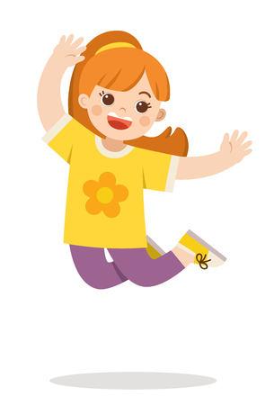 A girl jumping on the background. Vector illustration.