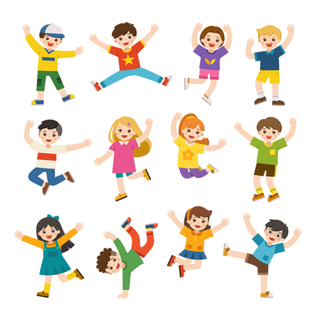 Childrens activities. Happy kids jumping together on the background. Boys and girls are playing together happily. Vector illustration. 向量圖像