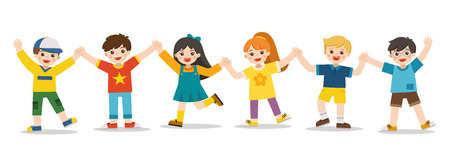Childrens activities. Happy kids jumping together on the background. Boys and girls are playing together happily. Vector illustration. Иллюстрация
