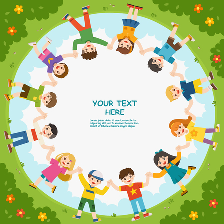 Group of children holding hands looking at camera and smiling in playground. Template for advertising brochure. Ready for your message.