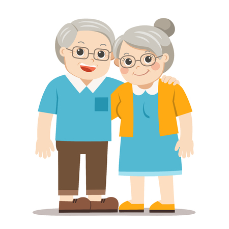 Nonno e nonna in piedi insieme. Due anziani uomo e donna di pensionati. Vettoriali