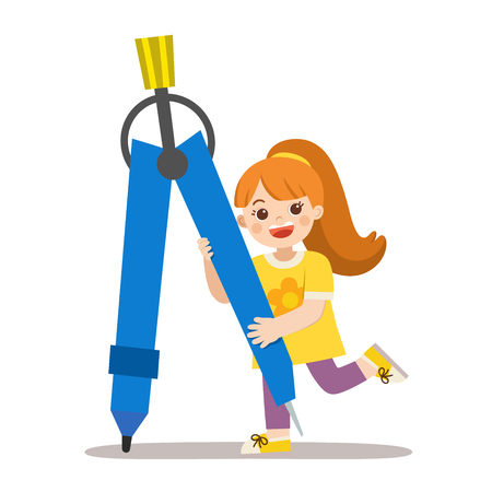 Back to School. A girl holding a big compass circle tool. Happy school kid with elements of school.