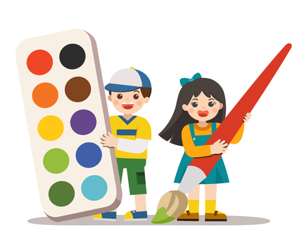 Back to School. Happy boy and girl holding big Color tray and paintbrush. Happy school kids with elements of school.