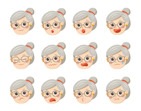 Cute grandma in glasses with facial emotions. Grandma face with different expressions.Granny in cartoon style vector illustration.