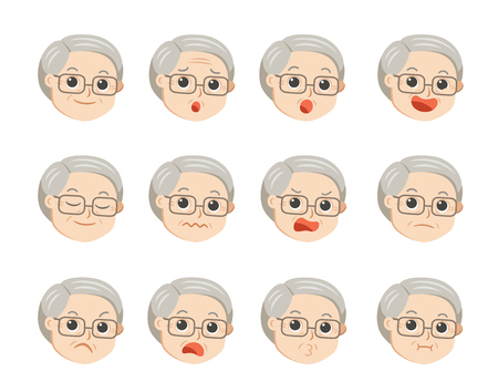 Cute grandpa in glasses with facial emotions. Grandpa face with different expressions. Granny in cartoon style vector illustration. Ilustração