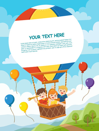 Happy Kids riding hot air balloon. Vector illustration. Template for advertising brochure. Ready for your message. Ilustração