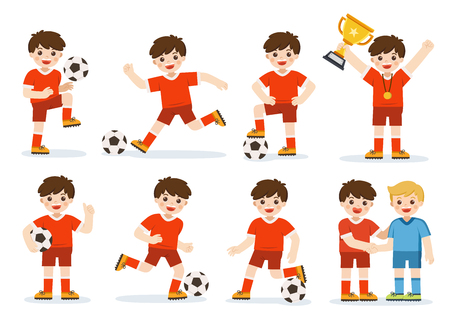 Set of Soccer kid with different pose. Player celebrating with a trophy after match on soccer field. Happy Boy is playing football and  improving soccer skills. A boy football training session.