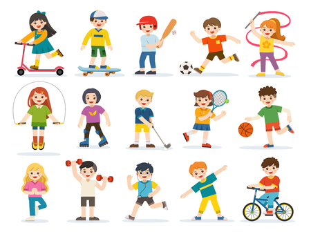 Activity set of Happy kids playing sportive and enjoying different sports exercises. Kids playing sport including basketball, athletic, tennis, bicycle, skate rolling etc.