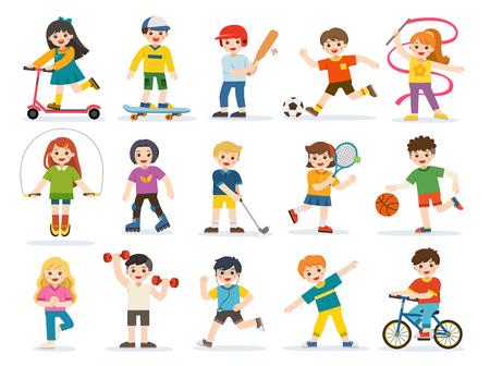 Ensemble d'activités d'enfants heureux jouant au sport et profitant de différents exercices sportifs. Les enfants font du sport, y compris le basket-ball, l'athlétisme, le tennis, le vélo, le patinage, etc.