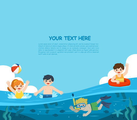 Happy kids play and swim in the sea. A Little boy diving with fish under the ocean. Kids having fun outdoors. Illustration Of Summer Kids.  Template for advertising brochure.