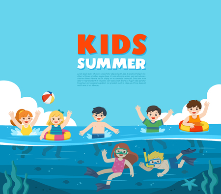 Happy kids play and swim in the sea. Little boy and girl diving with fish under the ocean. Kids having fun outdoors. Illustration Of Summer Kids. Template for advertising brochure. 向量圖像