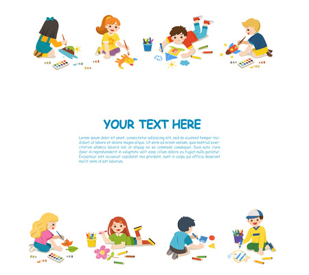Back to School. Art kids.  Cute children have fun and ready to get painting together. Template for advertising brochure. Children look up with interest. 向量圖像