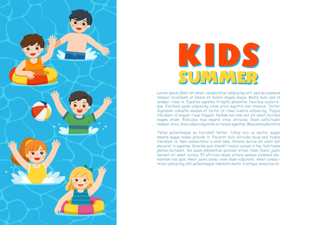 Happy kids play and swim in the sea. Kids having fun outdoors. Illustration Of Summer Kids. Template for advertising brochure. 向量圖像