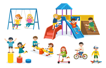 Set of Happy excited kids having fun together. Children playing in playground. Colorful isometric playground elements set with Kids.