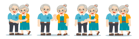 Set of Grandpa and grandma standing together. Two old persons man and woman of retirees.  向量圖像