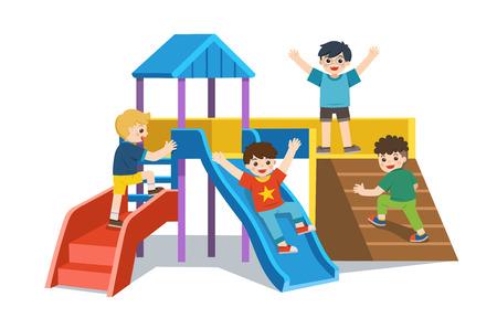 Set gelukkige opgewonden kinderen die samen plezier hebben. Kinderen spelen in de speeltuin. Kleurrijke isometrische speelplaatselementen ingesteld met kinderen.