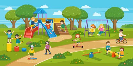 Happy excited kids having fun together on playground. Children play outside with sky background. Colorful isometric playground elements with Kids.