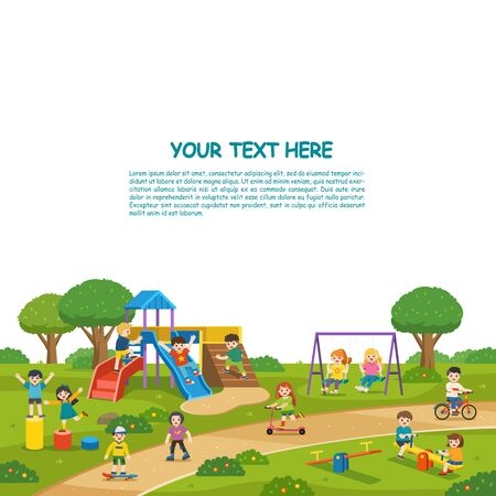 Happy excited kids having fun together on playground. Children play outside with sky background. Colorful isometric playground elements with Kids. Template for advertising brochure.