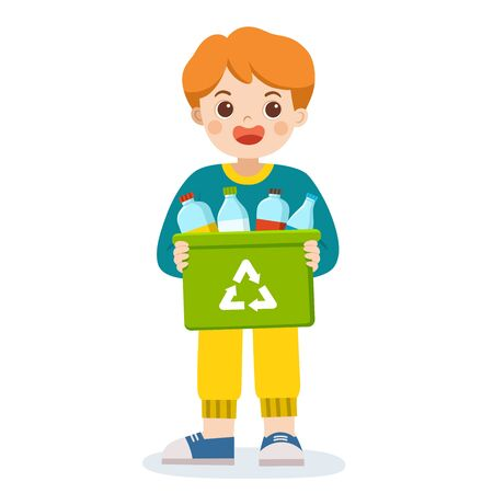 Happy smiling boy carrying a container bin of bottles suitable for recycling.  Save Earth. Waste recycling.