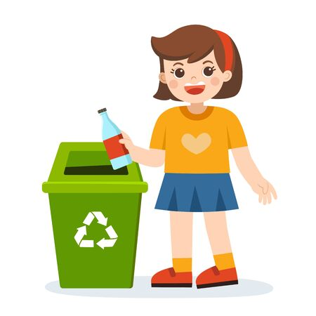 Responsibility of young little girl throwing plastic bottle in recycling trash bin. Happy Earth Day. Save the earth. Green day. Ecology concept.