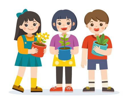 Little boy and girls holding plant and  flower pot in front of them in arms. Save the Earth. Happy Earth Day. Green day. Ecology concept. Isolated vector. Illustration