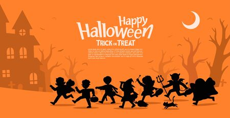 Happy Halloween. Children in Halloween fancy dress to go Trick or Treating.Template for advertising brochure.