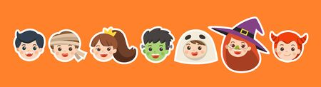 Happy Halloween. Face of Children in Halloween fancy dress to go Trick or Treating. Illustration