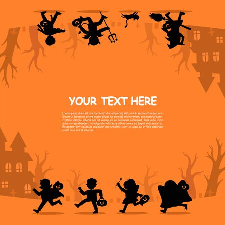 Happy Halloween. Silhouette of Children in Halloween fancy dress to go Trick or Treating.Template for advertising brochure. Иллюстрация