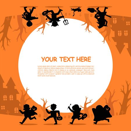 Happy Halloween. Silhouette of  Children in Halloween fancy dress to go Trick or Treating.Template for advertising brochure.