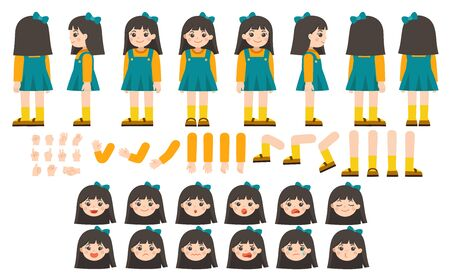 Mascot creation kit of little girl for different poses. Vector constructor with various views, emotions, poses and gestures. Schoolgirl character creation set.