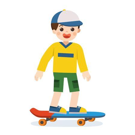 Happy smiling boy skating on skateboard. Skateboarding ride on white background.