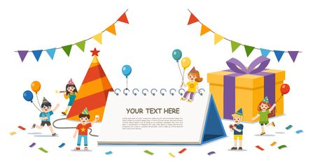Happy Kids celebrating new year party. Happy New Year greeting card. Template for advertising brochure. Illustration