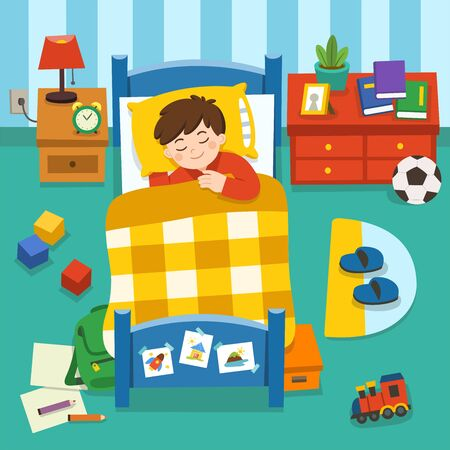 Adorable little Boy sleeping in the bed,  good night and sweet dreams. Quiet sleep quiet starry night. Vector illustration.