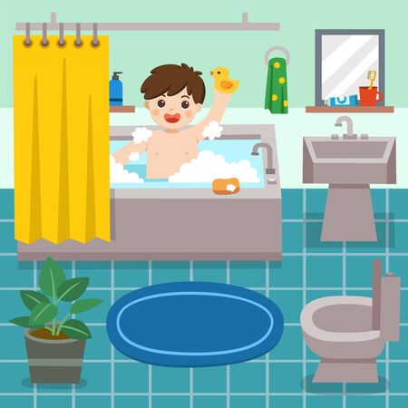 Adorable little boy taking a bath in bathtub with lot of soap lather and rubber duck. Happy boy sits in bathtub with soap bubbles. Vector illustration. Illustration