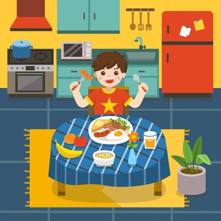 Adorable little Boy have breakfast in the kitchen. He is laughing while sitting at table near plate of breakfast.  Vector illustration.