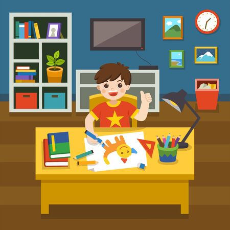 Adorable little Boy drawing the picture with colorful pencils. Boy doing school homework studying in living room. Vector illustration.