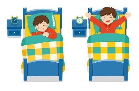 Un ragazzino che dorme stanotte fa sogni, buona notte e sogni d'oro. si sveglia la mattina. vettore isolato.