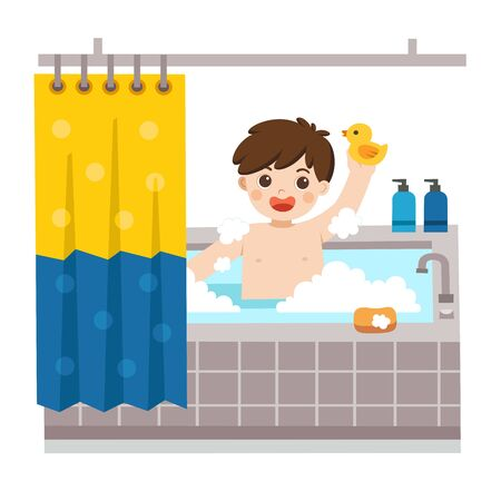 Adorable little boy taking a bath in bathtub with lot of soap lather and rubber duck. Isolated vector.