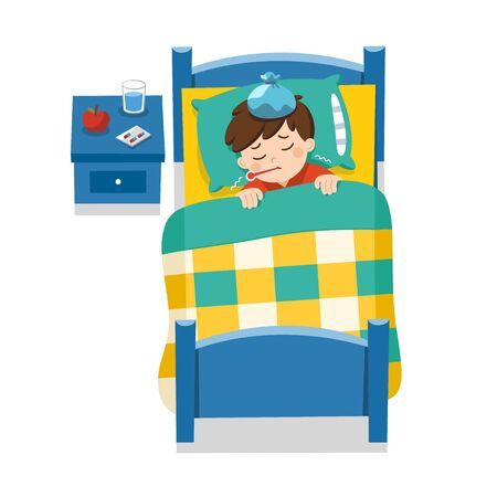 Sick cute boy sleep in bed with a thermometer in mouth and feel so bad with fever. Little sick boy with fever lying in bed under blanket. Vector illustration.