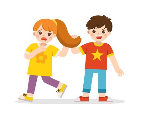Bullying children. Angry boy pulling girl's hair. She grabs her head with an open mouth look of shock and pain.  Problem of Physical bullying at school. Sad moment.