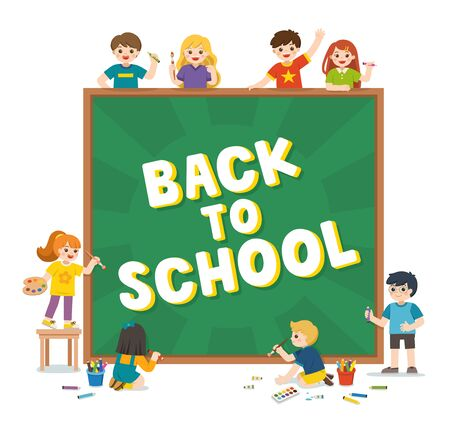 Back to School. Happy school kids holding blackboard with back to school writing. Template for advertising brochure. Children look up with interest. Vector illustration.