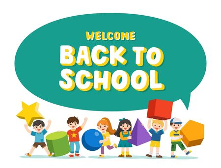 Welcome Back to School. Children with simple geometry forms. Different Geometric Shape. Educational geometry children. Template for advertising brochure. Children look up with interest. Illustration