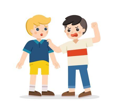 Mobbing kinder. Wütender Junge randaliert ihn, Freund. Problem des körperlichen Mobbings in der Schule. Trauriger Moment.