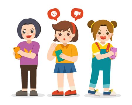 Social bullying concept. Girl being bullied by text message. Girls holding phone. Girl sharing text message on mobile phones. Illustration