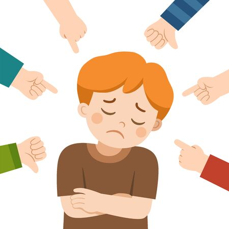 Boy crying and other kids pointing at her and laughing. Bullying at school. A boy in shame and hands with pointing finger. Victim kid.  Illustration