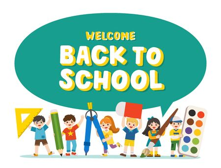 Welcome Back to School. Happy Children with elements of school.  Educational elements children. Template for advertising brochure. Children look up with interest.