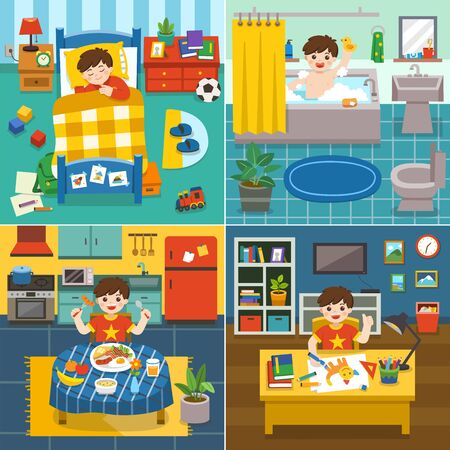 Illustration of The daily routine of  Adorable little Boy sleeping in the bed, taking a bath in bathtub, have breakfast, drawing the picture. 일러스트
