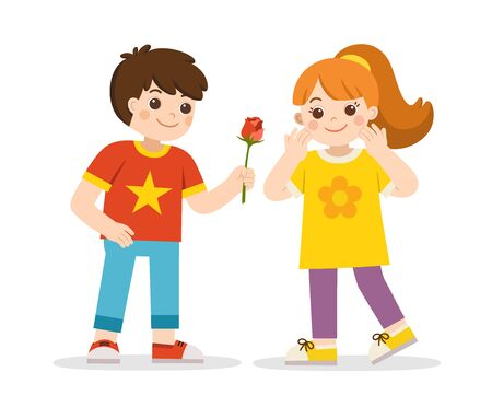 Boy giving a rose to a girl. Little boy in love giving cute girl. Couple propose with flower. Couple on romantic date.
